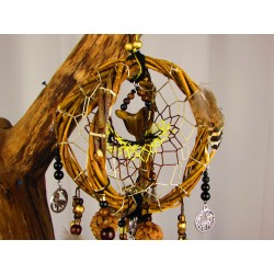 "Attrape rêves artisanal 3D avec loup et pyrite ""Golden wolf"""