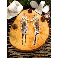 """Boucles d'oreilles plumes totem lynx et scapolite """"Secrets of silence"""""""