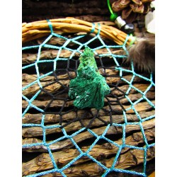 "Attrape rêves artisanal totem paon et malachite ""The green river"""