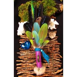 Eventail plumes à fumigation plumes perroquet totem caméléon