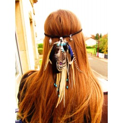 """Headband plumes naturelles totem ours  """"Ice sky"""""""