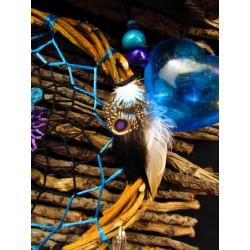 """Attrape rêves artisanal bois, plumes et aqua aura """"Forest lagoon"""""""
