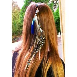 """Bijou de cheveux plumes naturelles et tortue """"Bulles d'amour"""""""