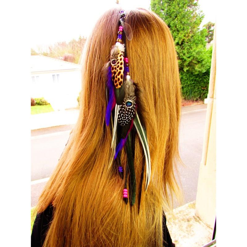"""Bijou de cheveux plumes naturelles totem libellule """"L'eau de rose"""""""