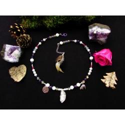 """Collier ethnique angel aura quartz et ours polaire """"Neige d'amour"""""""