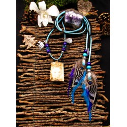 """Collier ethnique plumes totem ours """"Braveheart"""""""