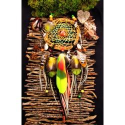 "Attrape rêves artisanal bois , pierre du soleil ""Amazonia"""