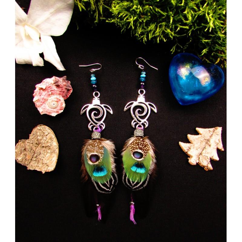 """Boucles d'oreilles plumes tortue et abalone """"Océan d'amour"""""""