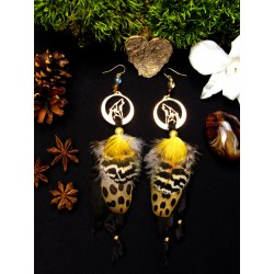 """Boucles d'oreilles plumes totem loup """"Golden forest"""""""