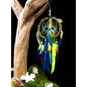 """Attrape rêves artisanal 3D bois chrysocolle et quartz """"Eaux turquoises"""""""
