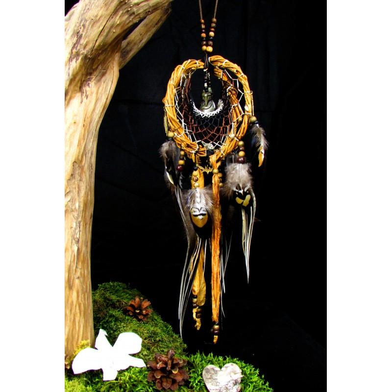 """Attrape rêves artisanal 3D totem du renard et pyrite """"Le sable d'or"""""""