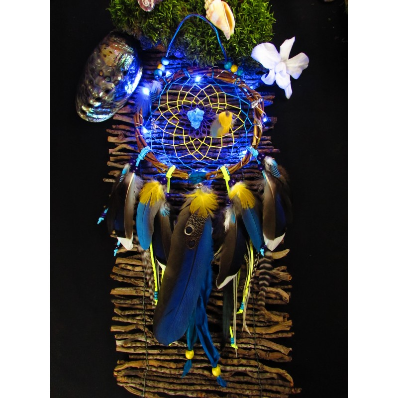 "Attrape rêves artisanal lumineux cyanotrichite ""Aloha"""