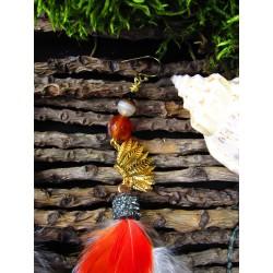 """Boucles d'oreilles ethnique amérindiennes plumes """"Aymara spirit"""""""