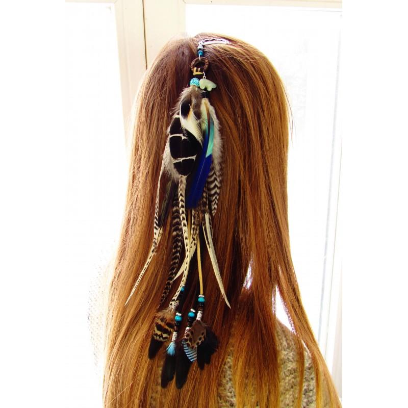 """Bijou de cheveux plumes naturelles, totem ours, amazonite """"Force tranquille"""""""