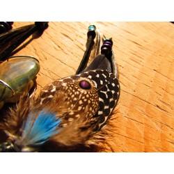 """Collier attrape rêves plumes avec labradorite violette et cavansite """"Enivrant"""""""