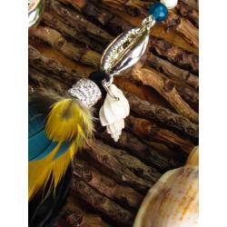 """Boucles d'oreilles ethnique plumes et coquillage """"Parrot island"""""""