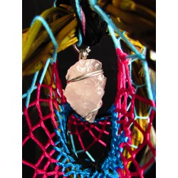 "Attrape rêves artisanal 3D bois quartz rose et aqua aura quartz ""Waves of love"""