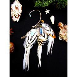 "Ear cuff plumes naturelles citrine et coquillage totem renard ""Dune sauvages"""