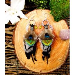 """Boucles d'oreilles plumes attrape rêves labradorite """"Rainbow lotus"""""""