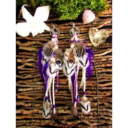 """Boucles d'oreilles ethniques plumes tanzine aura quartz """" Divine essence"""""""