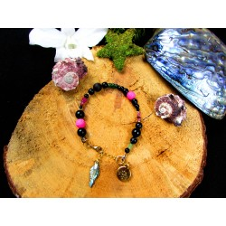"Ethnic bracelet woman abalone and lotus flower ""Let it go"""