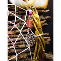 """Attrape rêves artisanal bois, plumes et améthyste totem du paon """"Mystic paradise"""""""