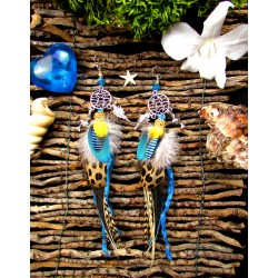 "Boucles d'oreilles plumes ethniques attrape rêves dauphin ""Sunny lagoon"""