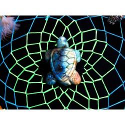 "Attrape rêves bois artisanal totem tortue et labradorite ""Turtle lagoon"""