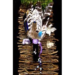 Eventail plumes à fumigation plumes naturelles totem salamandre