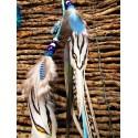 """Bijou de cheveux plumes naturelles totem orque et aigue marine """"Blue light"""""""