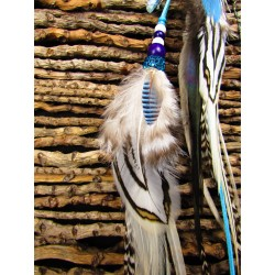 "Bijou de cheveux plumes naturelles totem orque et aigue marine ""Blue light"""