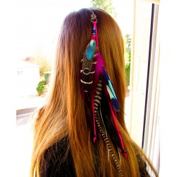 """Bijou de cheveux plumes naturelles, tortue et labradorite """"Aloha turtle"""""""