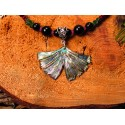 "Collier ethnique femme ginkgo et abalone ""Hope"""