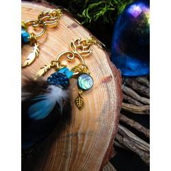 """Boucles d'oreilles plumes et fleur de lotus """"Golden lotus"""""""