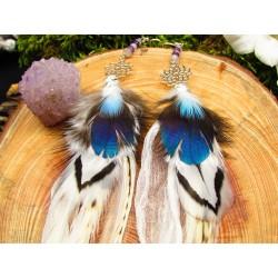 """Boucles d'oreilles plumes chakra couronne """"Extase"""""""