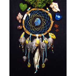 "Attrape rêves bois artisanal plumes labradorite et totem aigle ""King of sun"""