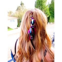 """Bijou de cheveux plumes naturelles et rubis  """"Red lightning"""""""
