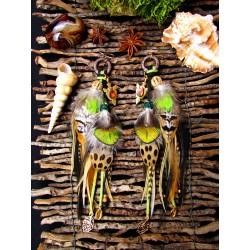 Boucles d'oreilles ethniques plumes ammolite