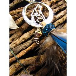"""Boucles d'oreilles plumes totem loup """"Wild plains"""""""
