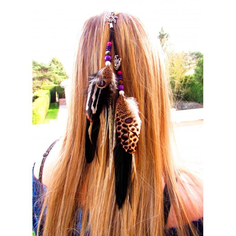 """Bijou de cheveux plumes naturelles, panthère et abalone """"La panthère du soleil"""""""