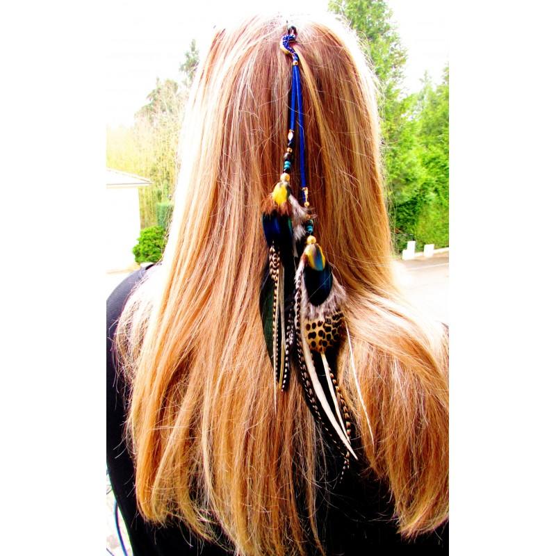 """Bijou de cheveux plumes naturelles, lune et abalone """"Mille et une nuits"""""""