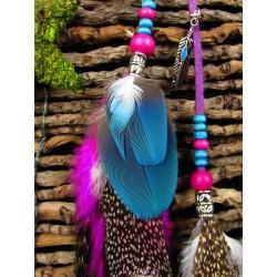 """Bijou de cheveux plumes naturelles """"Flamingo dance"""""""