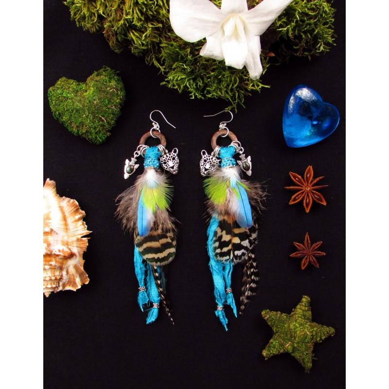 """Boucles d'oreilles ethniques plumes opale """"Terre d'opale"""""""
