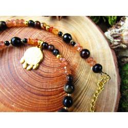 """Bracelet double rang ethnique totem renard et pierre du soleil """"Sunset lover"""""""