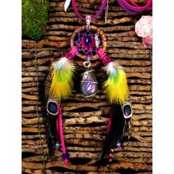 """Collier attrape rêves plumes avec labradorite violette et améthyste """"Summertime"""""""
