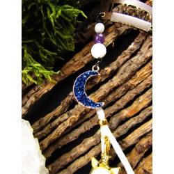 """Bijou de cheveux plumes naturelles, tortue et cyanite """"L'île des rêves bleus"""""""