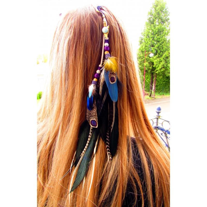 """Bijou de cheveux plumes naturelles, lune et larimar """"Sunset beach"""""""
