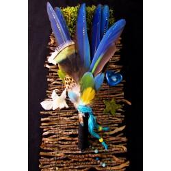 Eventail plumes à fumigation plumes naturelles totem perroquet