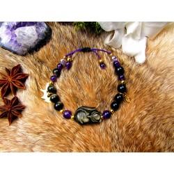 "Bracelet en pierre naturelles et renard en obsidienne dorée """
