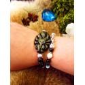"""Bracelet en pierre naturelles et renard en obsidienne dorée """"Paraiba fox"""""""